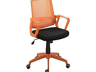 Benzara BM166642 Polywood Office Chair with Adjustable Height, Black/Orange