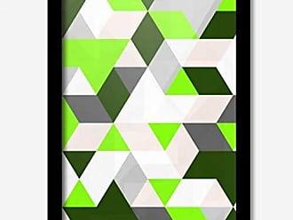 Los Quadros Quadro Decorativo Geométrico Verde 45 x 33 cm Los Quadros Preto
