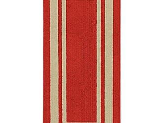 Garland Rug Borderline 24 x 60 Indoor/Outdoor Runner, Rectangle, Red Burgundy/Tan