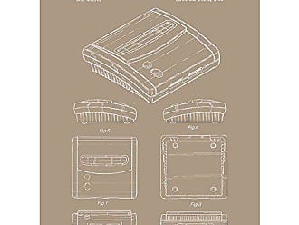 Inked and Screened SP_VIDG_407,761_KR_24_W Video Games Super Nintendo SNES 2 System Print, Kraft-White Ink, 18 x 24