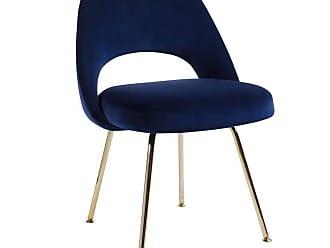 Knoll Saarinen Executive Armless Chair In Navy Velvet, 24k Gold Edition