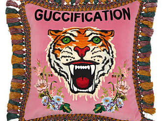 Gucci Guccification Tiger Embroidered Velvet Cushion - Pink Multi