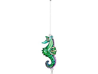 Woodstock Chimes Fantasy Glass Seahorse Green / Blue / Purple / Yellow - CRTRO