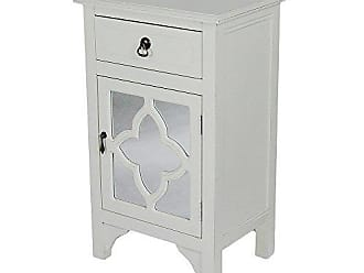 Heather Ann Creations Single Drawer Distressed Decorative Accent Storage Cabinet with Clover Glass Mirror Window Inserts, 30 x 18, Antique White