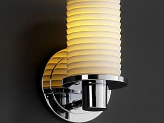 Justice Design Group Limoges Rondo 1 Light Wall Sconce - Cylinder with Flat Rim Sawtooth Shade - POR-8511-10-SAWT-CROM