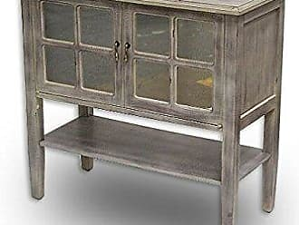 Heather Ann Creations The Vivian Collection Contemporary Wooden Mirrored Double Door Console Cabinet with Under Shelf and Windowed Panels, White Wash