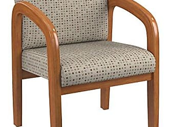 Office Star Padded Fabric Seat and Back Visitors Chair with Medium Oak Finish Frame, Luna