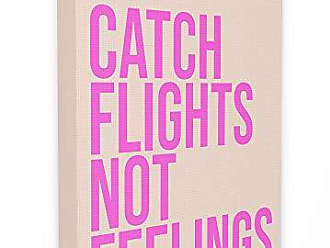 Stupell Industries The Stupell Home Décor Collection lulusimonSTUDIO Pink Sassy Catch Flights Not Feelings Typography Stretched Canvas Wall Art, 16 x 1.5 x 20