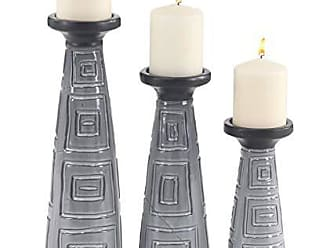 Deco 79 57459 Eclectic Ceramic Tapered Candle Holders, 5 W x 15 H, Gray, Black