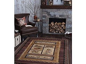 Tayse Rustic Canoe Novelty Lodge Pattern Brown Rectangle Area Rug, 8 x 10