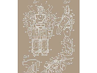 Inked and Screened SP_Toys_4,594,071_KR_17_W Voltron Silk Screen Print, 11 x 17 Kraft - White Ink