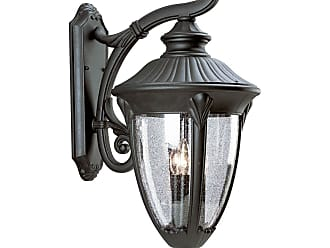 PROGRESS P5824-31 Three-light wall lantern in Textured Black finish with clear seeded glass
