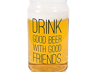 Pavilion Gift Company 68106 Man CraftedDrink Good Beer With Good Friends Glass Cup Candle Holder Clear
