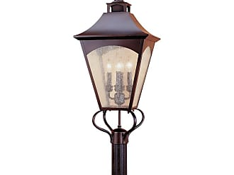Feiss OL1008ORB Homestead Pier/Post Lantern in Oil Rubbed Bronze finish with Thick Clear Seeded Glass
