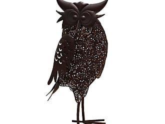 Oakland Living Hammer Tone Owl Garden Statue with Solar Light and Ground Stake - 650259-OWL-4-HB