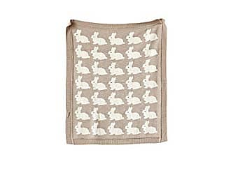 Creative Co-op Creative Co-op Cotton Knit Baby Blanket with Rabbits, 40 L x 32 W, Taupe