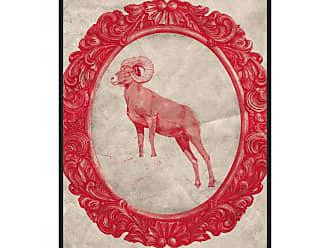 Ptm Images Framed Bighorn Sheep in Crimson Framed Canvas Wall Art Beige / Green - 9-116495