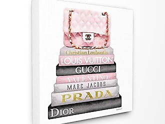 Stupell Industries The Stupell Home Décor Collection Watercolor High Fashion Bookstack Padded Pink Bag Stretched Canvas Wall Art, Multi-Color