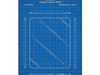 Inked and Screened SP_TECH_670,286_BG_17_W Apple iPad-2012 Print, 11 x 17 11 x 17 Blue Grid - White Ink