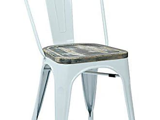 Office Star Bristow White Metal Frame Chair with Vintage Wood Seat, Ash Crazy Horse Finish, Single