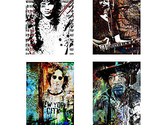 Ready2HangArt Rock Stars 4 Piece Modern Contemporary Canvas Wall Art Print, Panel: 18 x 24, Multi Color