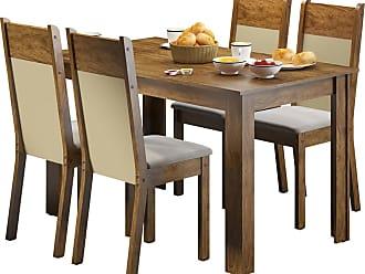Madesa Sala de Jantar Madesa Havana e 4 cadeiras Marrom