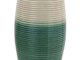 Oriental Furniture 18 Beige & Green Ribbed Porcelain Garden Stool