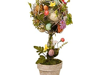 National Tree Company National Tree 17 Inch Easter Topiary with Mixed Flowers, Twigs and Pastel Eggs (GAE30-17TEF)
