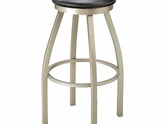 Regal Redlund 26 in. Backless Metal Counter Stool with Upholstered Seat Black - 1117U-26-ANODIZED NICKEL- BLACK