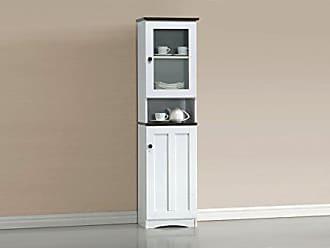 Wholesale Interiors Lauren Two-Tone Buffet and Hutch Kitchen Cabinet, White/Dark Brown