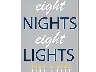 Ready2HangArt Ready2hangart Eight Nights, Eight Lights Hanukkah Canvas Wall Art, 20 x 16, Grey