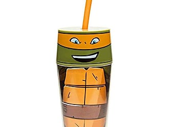 Zak designs TNTR-R051 Turtles New Series Michael Double Walled Icon Tumbler, 14 oz, Multicolor