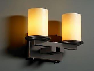 Justice Design Group CNDL-8772 - Dakota 2 Light Straight - Bar Bath Bar - Cylinder with Flat Rim Shade - Amber Shade - CNDL-8772-10-AMBR-DBRZ