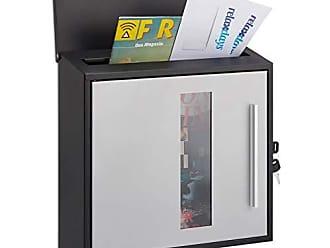 Standard Relaxdays Design Postkasten Schloss HBT: 37 x 37 x 11 cm mit Zeitungsrolle DIN A4 schwarz Briefkasten Edelstahl