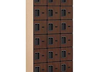 Salsbury Industries 6-Tier Box Style Designer Wood Locker with Three Wide Storage Units, 6-Feet High by 18-Inch Deep, Mahogany