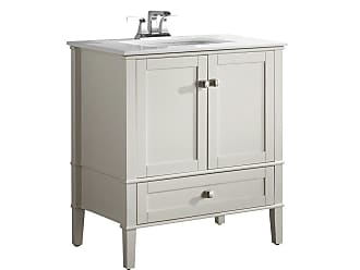 Simpli Home Chelsea 30 inch Bath Vanity in Off White with White Engineered Quartz Marble Top