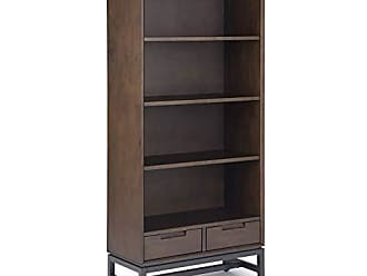 Simpli Home Simpli Home AXCBAN-12 Banting Solid Hardwood and Metal 66 inch x 30 inch Modern Industrial Bookcase in Walnut Brown