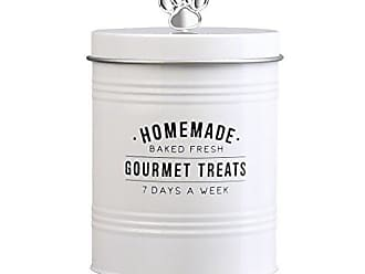 Amici Home Amici Pet, 7CDI035R, Gourmet Treats Round Metal Treats Storage Canister, Baked Fresh Gourmet Treats Decal, Silver Tone Paw Knob, Food Safe, 72 Ounces