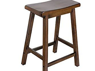 Benzara BM177551 Wooden Counter Height Stools with Saddle Seat, Set of Two, Brown