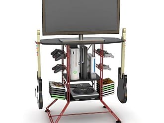 Atlantic Centipede Game Storage TV-Stand - 37 TV Stand, Durable Wire Construction with Game Storage, Organize your Games, Controllers, 4 Game Consoles and More ON 45506142B in Red