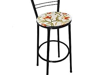 Itagold Banqueta Flórida Tubo Preto com Assento Floral Clássico Laranja - Itagold