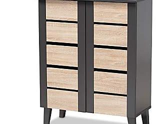 Wholesale Interiors Baxton Studio 153-9158-AMZ Shoe Cabinets, One Size, Oak/Gray
