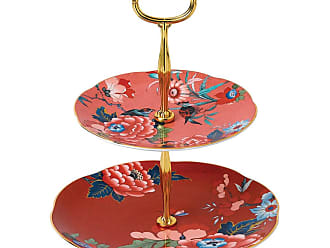 Wedgwood Paeonia Two Tier Cake Stand - Coral/Red
