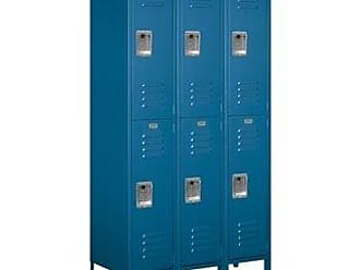 Salsbury Industries Assembled 2-Tier Extra Wide Standard Metal Locker with Three Wide Storage Units, 6-Feet High by 18-Inch Deep, Blue