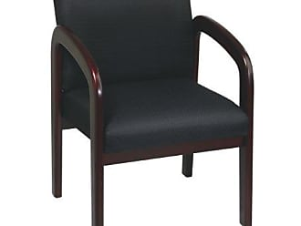 Office Star Padded Fabric Seat and Back Visitors Chair with Mahogany Finish Frame, Black Triangle