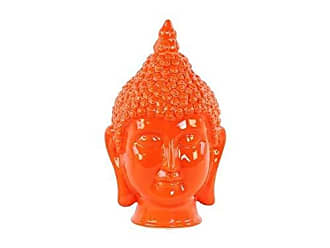 Benzara BM180490 Buddha Head Figurine, Orange