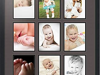 Art to Frames Double-Multimat-1049-119/89-FRBW26079 Collage Photo Frame Double Mat with 9-6x8 Openings and Satin Black Frame