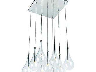 Maxim Lighting ET2 E20516-18PC Larmes 9-Light LED Single Pendant, Polished Chrome Finish, Clear Glass, G4 LED Bulb, 7.5W Max., Dry Safety Rated, 2900K Color Temp., Low-Voltage Electronic Dimmer, Natural Fiber Shade Material, 9750 Rated Lumens