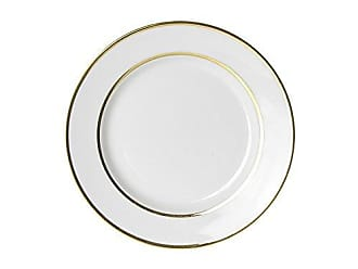 10 Strawberry Street Double Gold Line 7.75 Salad/Dessert Plate, Set of 6, White/Gold