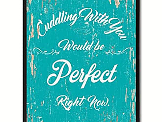 Spot Color Art SpotColorArt Cuddling with You Would Be Perfect Right Now Framed Canvas Art 22 x 29 Aqua
